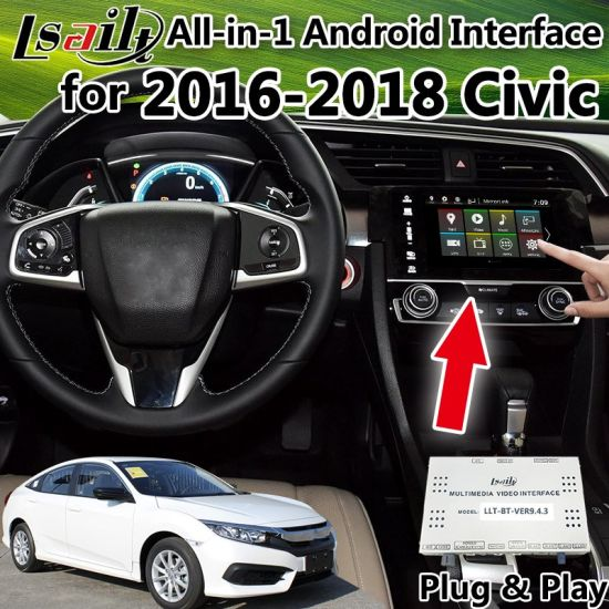All-in-1 Plug&Play Android GPS Navigator for 2016-2018 Honda Civic Integrated Video Interface, Mirrorlink, Google Play