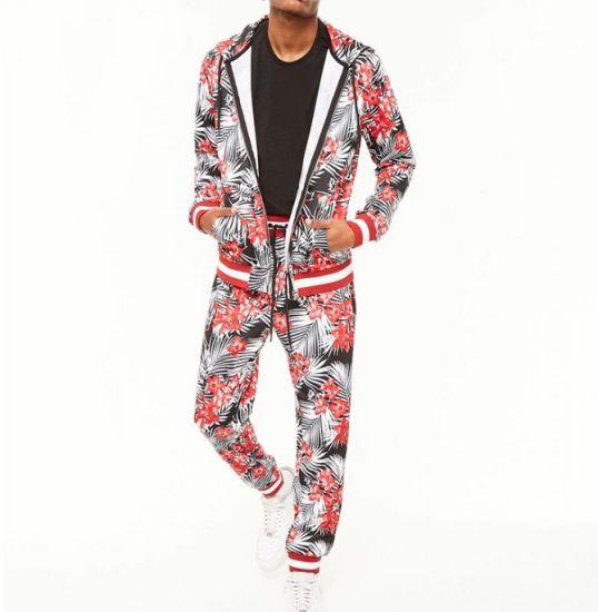 d8b5b466 Cotton Fleece Fabric Fashion Latest Design Causal Floral Men Tracksuits