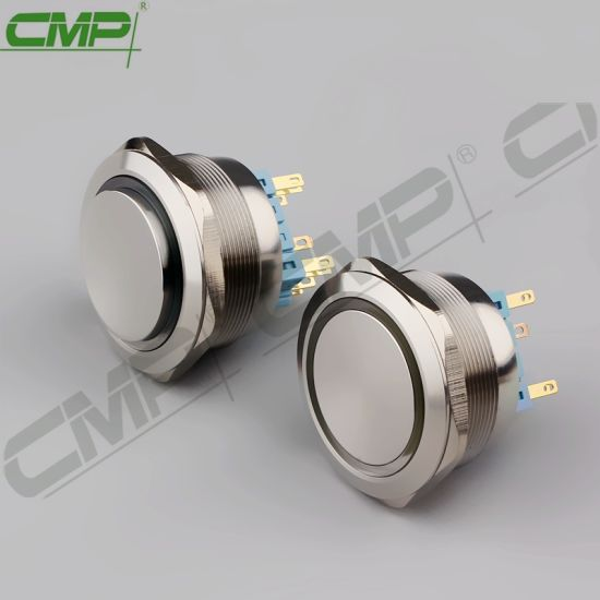 High Quality Metal Stainless Steel 40mm Push Button Switch with 3 Colour RGB LED