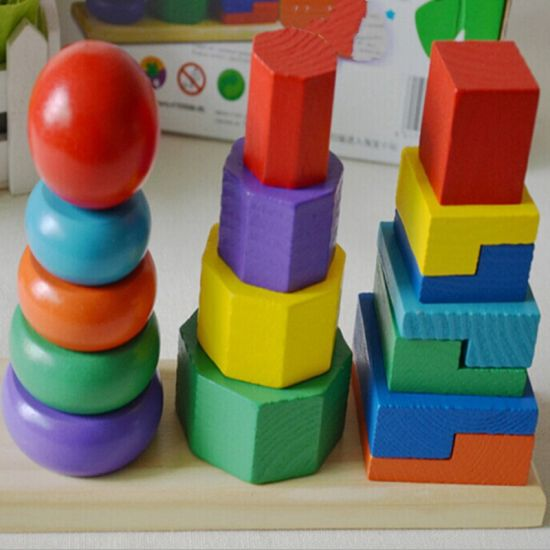 Kids Children 7 Color Wooden Rainbow Stacking Building Blocks Educational Toy AI