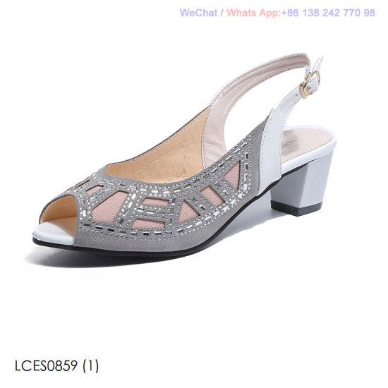e47b2811e52 China Womens Low MID Heel Block Peep Toe Ladies Party Sandals ...