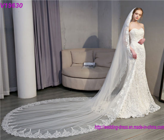 Hot Sale 3 Meter Long Tulle Wedding Accesories Lace Bridal Veils
