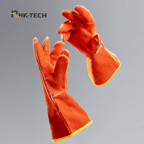 Orange Cow Leather Welding Gloves Industry Working Safety Gloves pictures & photos
