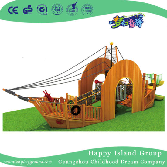 China Environmental Wooden Pirate Ship Large Outdoor Playground Hj