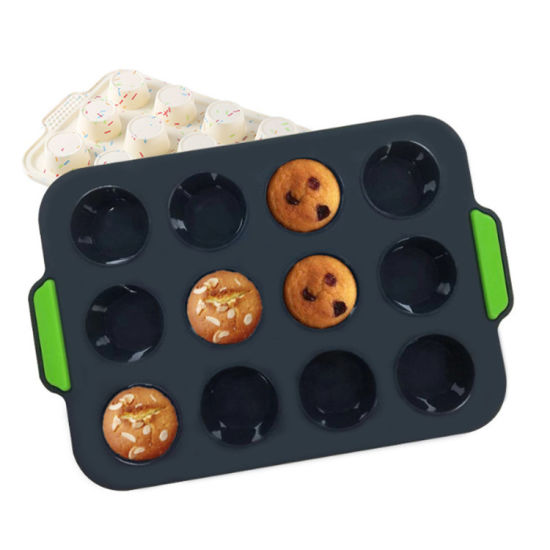 12PCS BPA Free Silicone Muffin Molds Baking Cake Pan Tray
