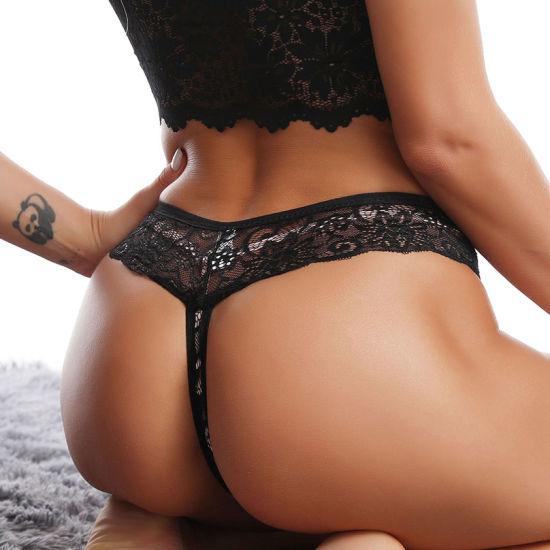 Transparent Pants Ladies Thong Panties Lace T-Back Women Sexy Underwear Hipster Lingerie