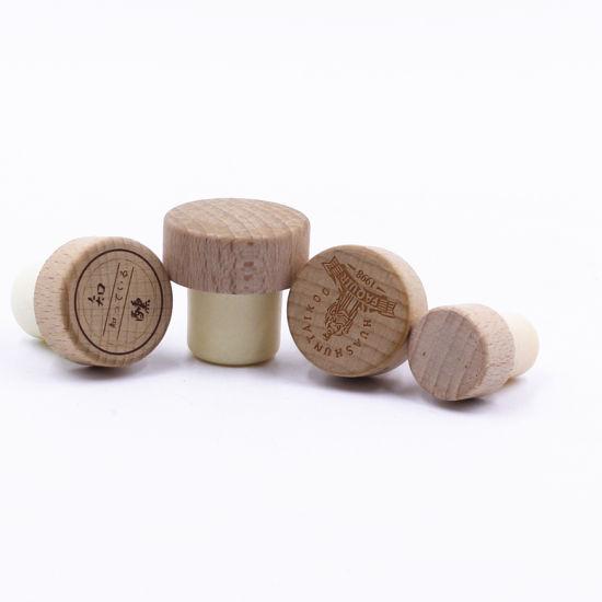 Customized T Shape Wooden Cap with Synthetic Bottle Stopper for Spirits Wine Spirits Liquor Rum Glass Bottle