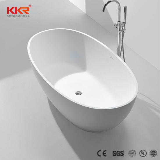 China Solid Surface Cultured Marble Freestanding Bathtub Black