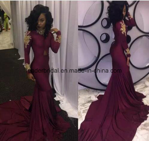 cf906a9e285 Gold Sequins Spandex Party Prom Gown Red Blue Wine Black Jersey Black Girls Long  Sleeves Cocktail Evening Dresses L1539