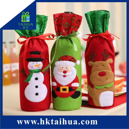 Promotional Christmas Gift Decoration Cloth Packing Bag for Winebottle pictures & photos