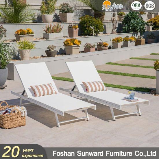 Hot Sale Customized Beach Side Garden Sale Resort Hotel Pool Outdoor Leisure Wholesale Patio Aluminum Textliene Mesh Fabric Sunbed Furniture