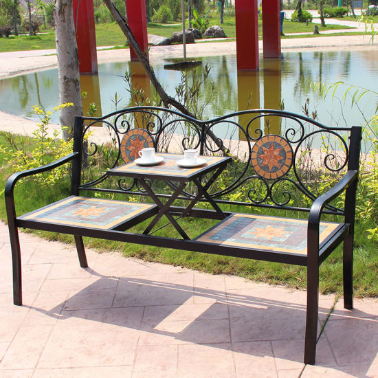 Awe Inspiring Country Style Mosaic Patio Bench Garden Bench Ibusinesslaw Wood Chair Design Ideas Ibusinesslaworg