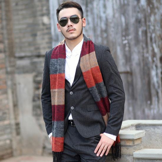 Scarves Mens Winter Brand Fashion Plaid Scarf For Men Design Warm Long Cotton