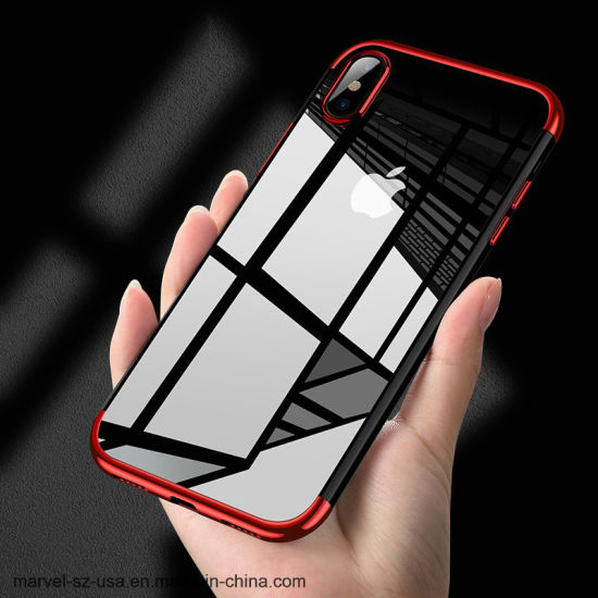 Fashion Transparent TPU Soft Silicone Plating Mobile Back Shell Phone Case for iPhone X