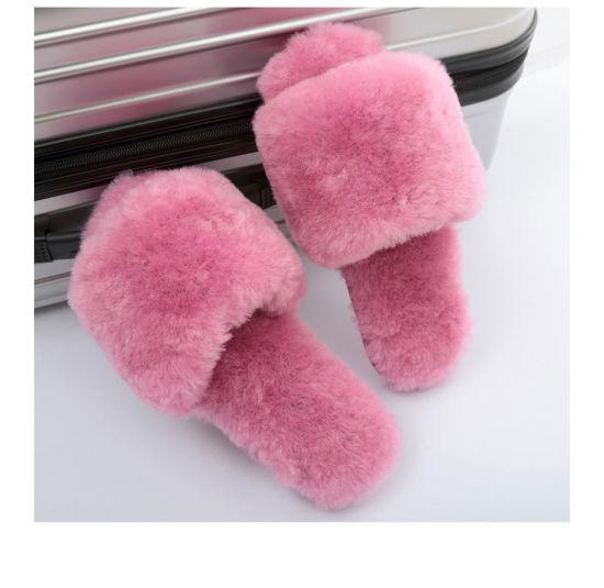 Natural Sheepskin Slippers Women Wool Home Fur Slippers Warm Furry Indoor Ladies Girls Winter Wool House Shoes Wholesale