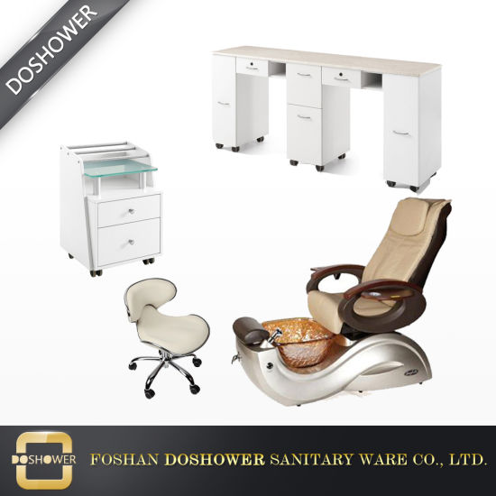 Double Manicure Tables with New Design Vented Exhaust Pedicure Chairs