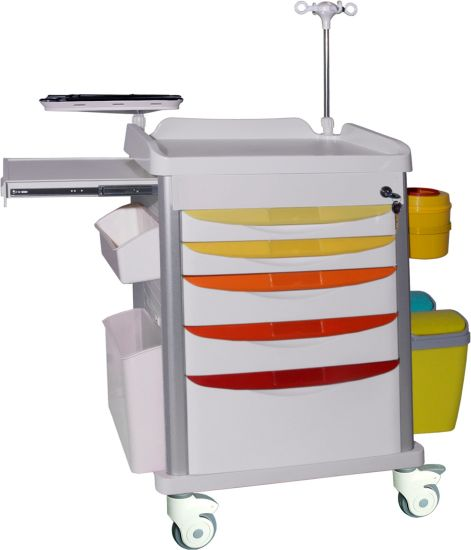 Manufacture Customized Hospital Economic Medical ABS Plastic Anesthesia Medicine Therapy Drugs Nuring Patient Emergency Trolley Crash Cart