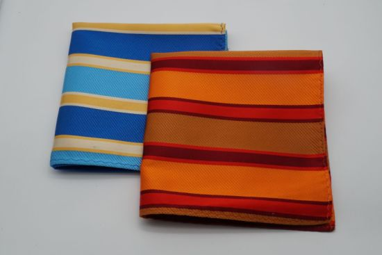 Wide Stripe Design Silk Jacquard Fabric Men's Pocket Square
