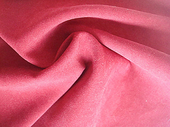Plain Satin Peach Polyester Fabric for Garment Use pictures & photos