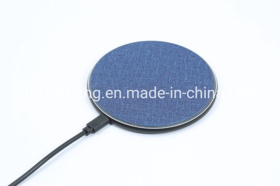 Fabric Thin LED Flash Mobile Phone Wireless Charger with USB Cable