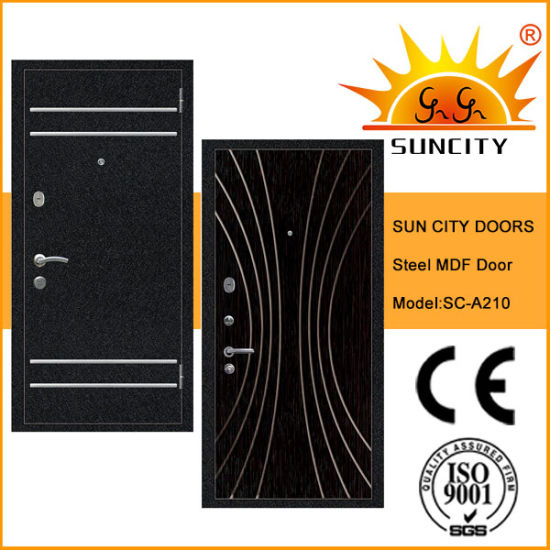 MDF Panel Inside Steel Wooden Armored Door for Outdoor (SC-A210) pictures & photos