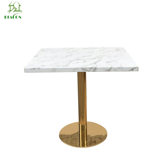 Marble Top Metal Base Dining Table