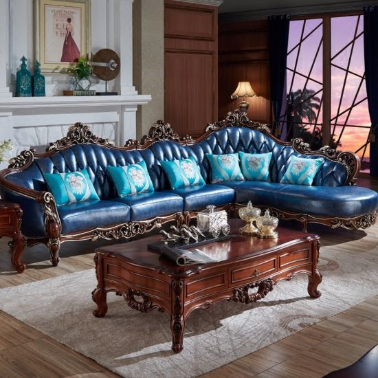 Optional Color Wood Corner Leather Sofa From Chinese ...