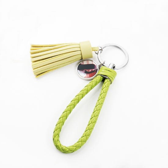Dye Sublimation Leather Material Braided Rope and Tassel Keychain
