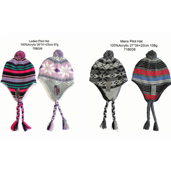 Children Winter Warm Fashion Jacquard & Stripe Pilot Hat with Polar Fleece Lining pictures & photos