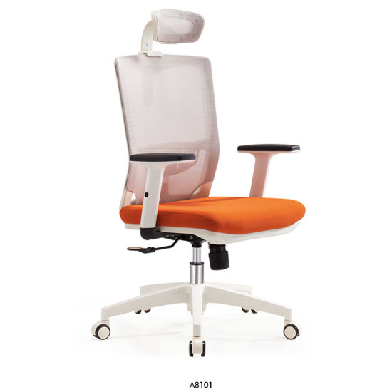 Modern Mesh White Orange Screw Lift Computer Office Chair