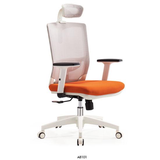 Modern Mesh White Orange Screw Lift Computer Office Chair