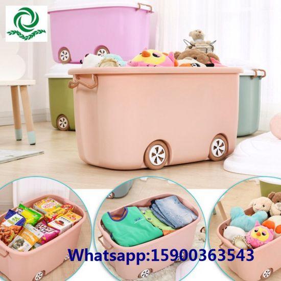 70L Large Childrenu2032s Cartoon Plastic Toy Storage Bin With Lockers