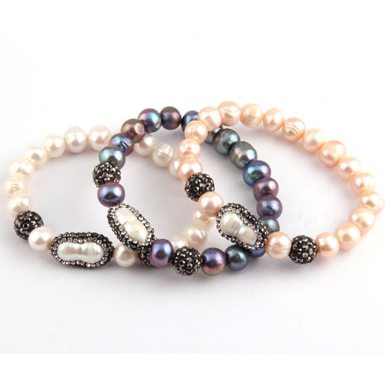 2018 New Design Crystal Paved Pearl Bead Bracelet