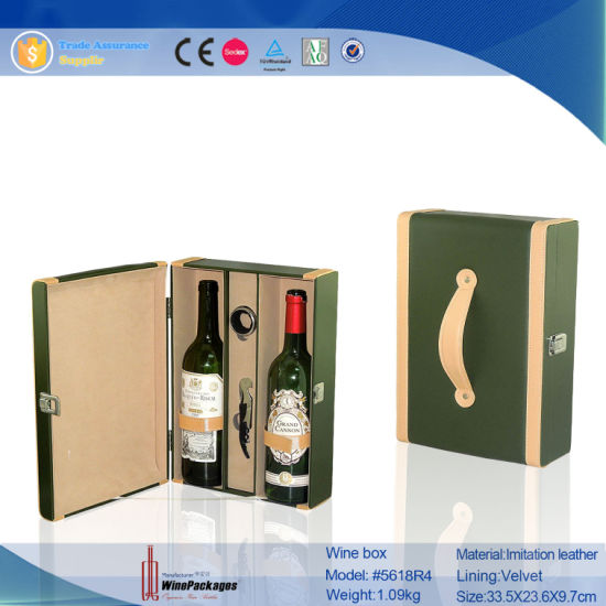 2 Bottle Faux Leather Wine Carrier Wine Case (5618) pictures & photos