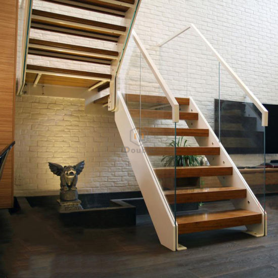 Modern Wooden Stairs Glass Handrail/Railing U Shape Wood Staircase