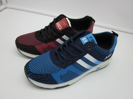 Injection Athletic Running Sport Shoes with PVC Sole