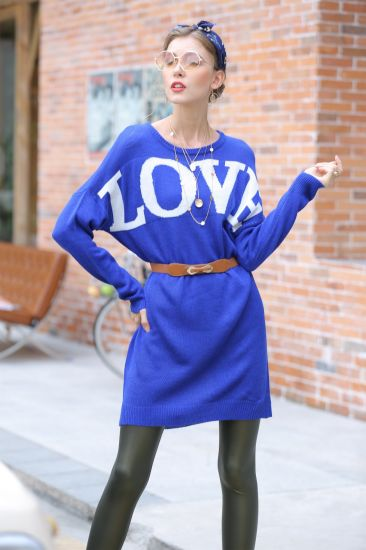 Round Neck Apparel Pullover Loose Sweater Jacquard Long Knitted Dress
