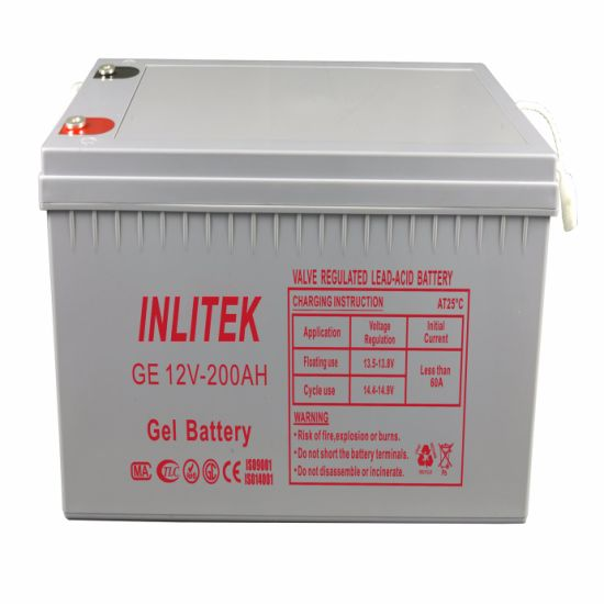 Inlitek Rechargeable Deep Cycle Storage Solar Gel Battery 12V 200ah UPS VRLA Lead Acid pictures & photos