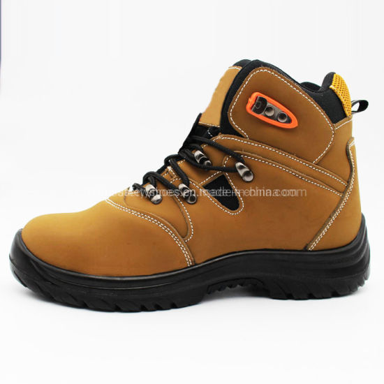 High Cut PU Sole Steel Toe Nubuck Leather Waterproof Industrial Safety Shoes