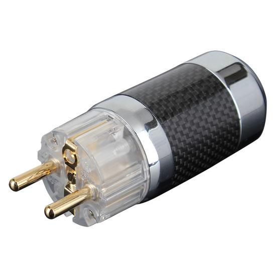 Hh3114 HiFi Euro Schuko Carbon Fiber Power Connectors for DIY