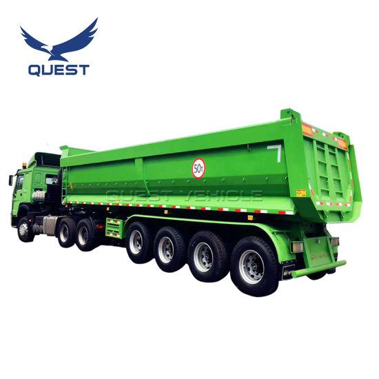 Ghana 80 Tons 4axles Dump Semi-Trailer Rear Tipper Truck Trailers