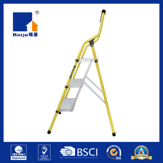 Yellow Paint Steel Frame Aluminium Step Ladder pictures & photos