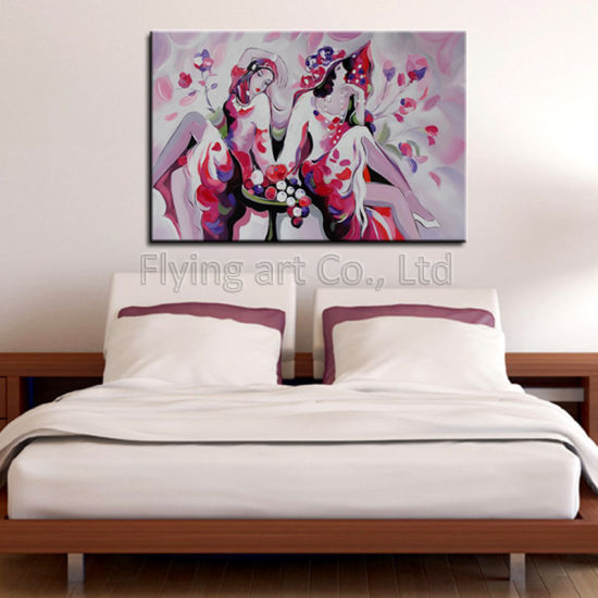China Impression Colorful Hand Painted Modern Girl Oil Painting Wall ...