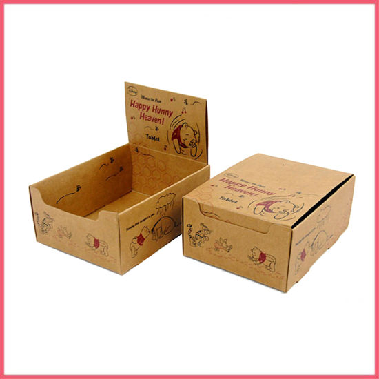 Printed Brown Kraft Cardboard Counter Display Box Packaging PDQ