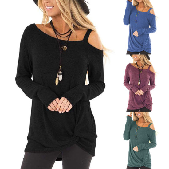 Casual Long Sleeve Knitted off Shoulder Women T-Shirt