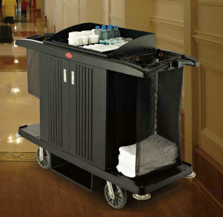 Deluxe Hotel Guestroom Service Cart with Two Bucket, Cleaning Trolley