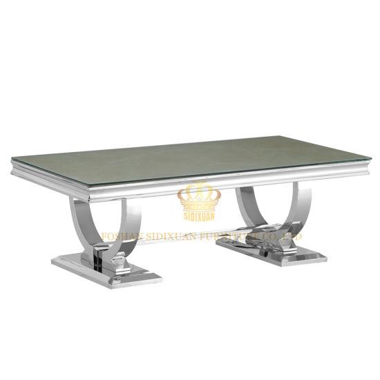 Sj890 Modern Metal Coffee Table With Glass Top