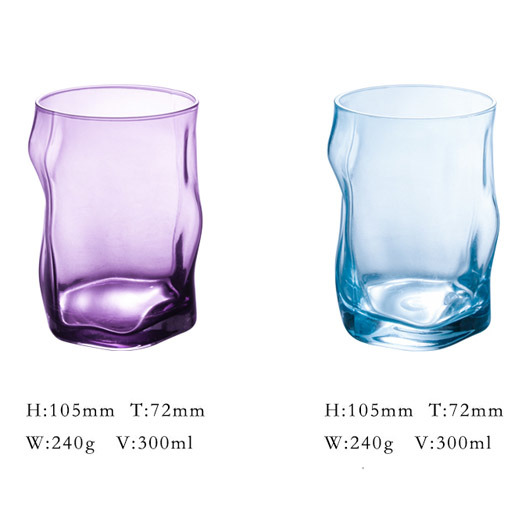 Smoke Gray Colored Drink Glass Cup in Irregular Shape