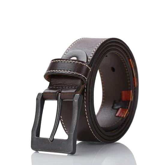 100% Cowhide Genuine Leather Belts for Men Strap Male Pin Buckle Cowboy Jeans Saddle Tan Belt