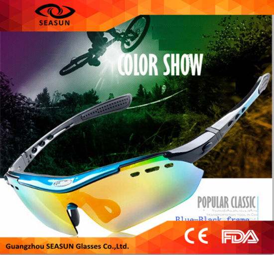 Wholesale 2016 Hot Selling Outdoor UV400 Coating Lens Cycling Goggles Cycling Sport Sunglasses with 5 Interchangeable Lens